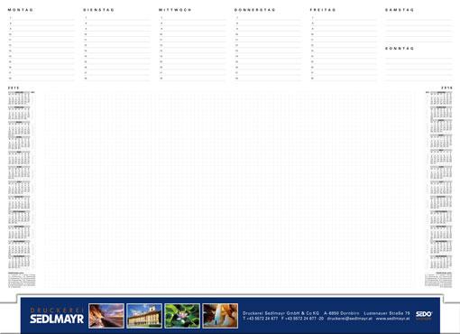 """Schreibtischunterlage / Schreibunterlage der neuen Generation mit Plastikleiste """"sedo®-VarioLine"""". Eingeschobener, fester Papierstreifen in feinster Digital-Drucktechnik. Supergenaue Darstellung von Text, Zeichnung, Foto. Papierfläche und Kalendarium werden nach Ihren Wünschen gestaltet."""